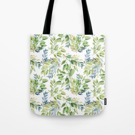 Spring Leaves watercolor pattern Tote Bag