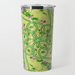 Green and Pink Celtic Swirl Flowers Travel Mug