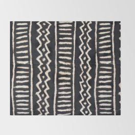 African Vintage Mali Mud Cloth Print Throw Blanket