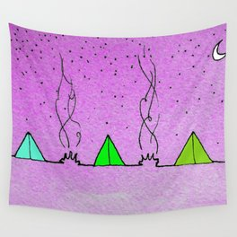 Three Tents Under a Pink Sky Wall Tapestry