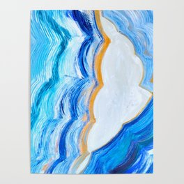 Blue and gold agate Poster