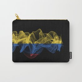Colombia Smoke Flag on Black Background, Colombia flag Carry-All Pouch