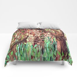 Lost in the Forest - watercolor painting collage Comforters