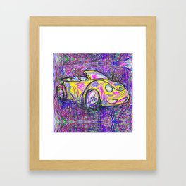 Expressive Bright Yellow V W Beetle created under the influence of Caffine by annmariescreations Framed Art Print