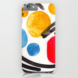 Mid Century Modern Abstract Juvenile childrens Fun Art Primary Colors Watercolor Minimalist Pop Art iPhone Case