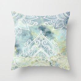 MANDALA ON MARBLE Throw Pillow