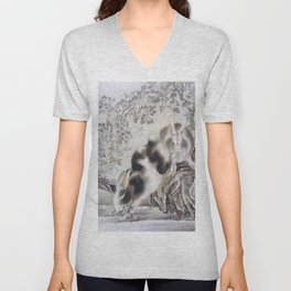 Kawanabe Kyosai - Rabbits - Digital Remastered Edition Unisex V-Neck