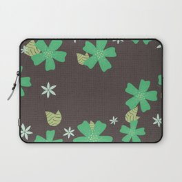 Green Wandering Flowers Illustrated Floral Pattern Laptop Sleeve