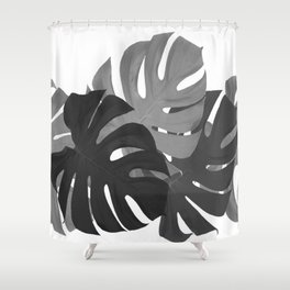 Monstera Leaves Black and White #decor #society6 #buyart Shower Curtain