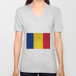 Extruded flag of Romania Unisex V-Neck