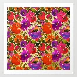 Vibrant Purple and Orange Blossom on Gold  Art Print