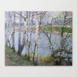 Lanscape. Under the river. April. original oil painting Canvas Print