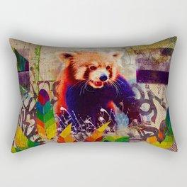 Red Panda Abstract vintage pop art composition Rectangular Pillow