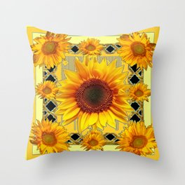 Western Black Golden Sunflowers Art Throw Pillow