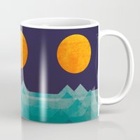 retro Mugs featuring The ocean, the sea, the wave - night scene by Picomodi