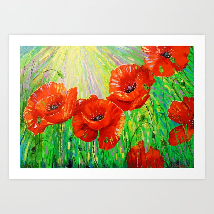 Poppies in sunlight Art Print