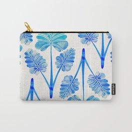Tropical Palm Leaf Trifecta – Blue Ombré Palette Carry-All Pouch