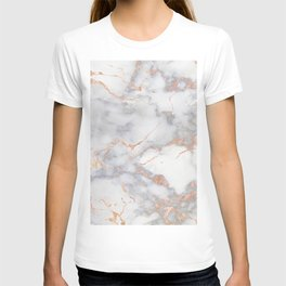 Gray Marble Rosegold  Glitter Pink Metallic Foil Style T-shirt