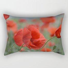 Red Poppies Blooming Rectangular Pillow