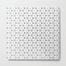 Hex Pattern 65 - White and Black Metal Print