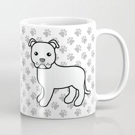 White English Staffordshire Bull Terrier Cartoon Dog Coffee Mug