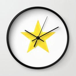 Golden Star on White Wall Clock