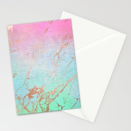 Rainbow Glamour Marble Texture Stationery Cards