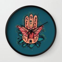Hamsa Hand and the Beetle Pink & Teal Green_ digital painting Wall Clock