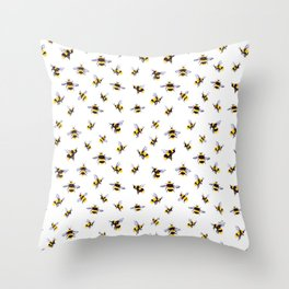 Bumblee Bee Watercolor Pattern Throw Pillow