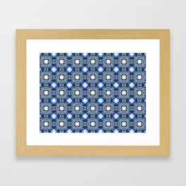 Blue white and grey square floral Framed Art Print