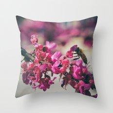 a redbud bee Throw Pillow