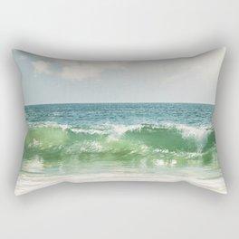 Ocean Sea Landscape Photography, Seascape Waves, Blue Green Wave Photograph Rectangular Pillow