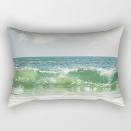 Ocean Sea Landscape Photography, Seascape Waves, Blue Green Wave Photograph Rectangular Pillow