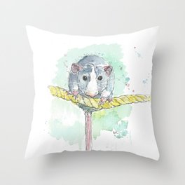 Rat on a rope. Throw Pillow