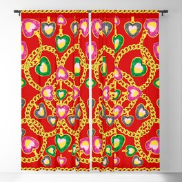 Fashion Print with Golden Chains and Jewelry Blackout Curtain