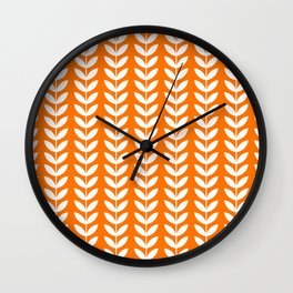 Orange and White Scandinavian leaves pattern Wall Clock