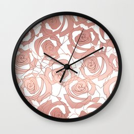 Pour The Rosé - Roses Gold Copper Wall Clock