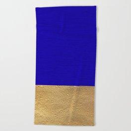 Color Blocked Gold & Cerulean Beach Towel