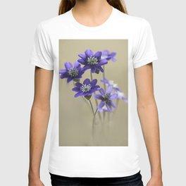 Bouquet of fresh dark violet Hepatica T-shirt