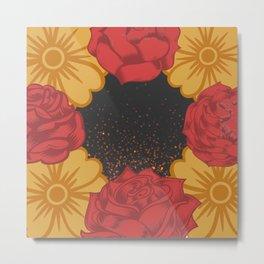 Marigolds and roses Metal Print