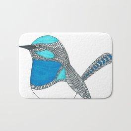 Illustrated Blue Wren with Line Art Bath Mat