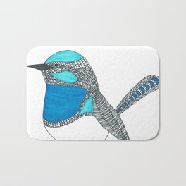Illustrated Blue Wren with Line Art Bath Mat