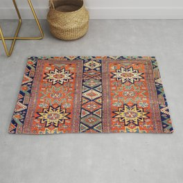 Southwestern Farmhouse V // 19th Century Colorful Red Yellow Blue Green Aztec Farm Stars Pattern Rug