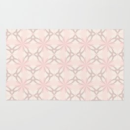 Romantic Pink and Grey Flowers Rug