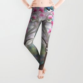 white tailed deer, black throated blue warblers, & magnolia blossoms Leggings