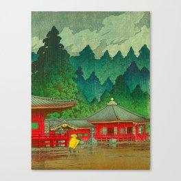 Vintage Japanese Woodblock Print Rainy Day At The Shinto Shrine Tall Pine trees Yellow Rain Coat Canvas Print