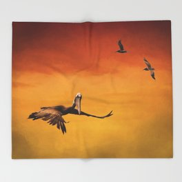 Pelican Heaven Throw Blanket
