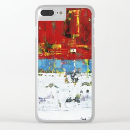 Folly Bright Red White Modern Art Abstract Painting Clear iPhone Case