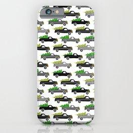 Cute Christmas Pickup Trucks Grayscale Pattern iPhone Case