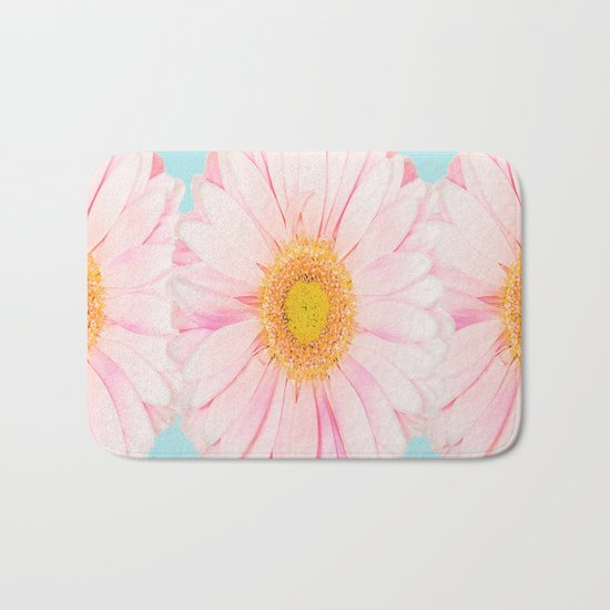 Pink summer flowers on a turquoise background - summer mood Bath Mat